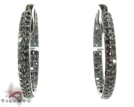 2 Row Black Diamond Hoops Earrings Style