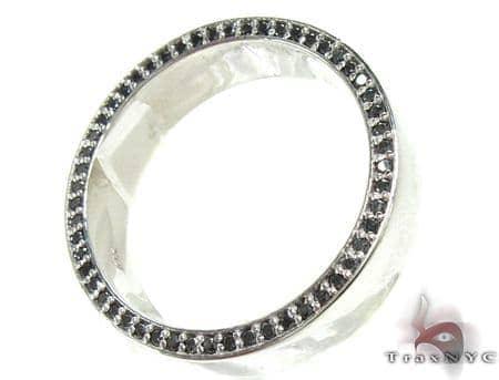 White Gold Back Diamond Eternity Prong Ring Stone