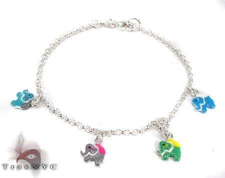 Childs Silver Enamel Elephant Bracelet 19598 Silver & Stainless Steel