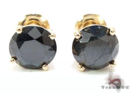 Custom Jewelry - Royal Black Diamond Earrings 5 Stone