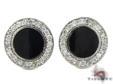 White Gold Round Cut Prong Diamond Onyx Earrings Stone