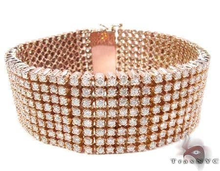Rose Gold 8 Row Bracelet Diamond