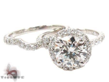 White Gold Round Cut Prong Diamond Wedding Ring Set Engagement