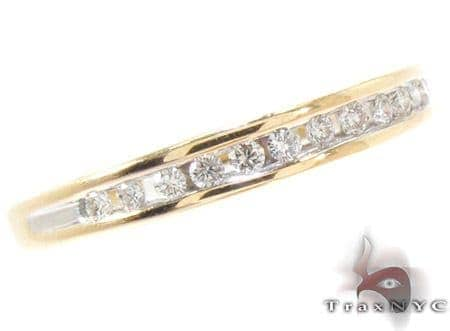 Yellow Gold Round Cut Channel Diamond Ring Wedding