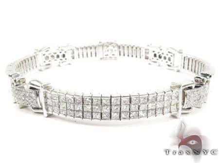 18K Gold Diamond Link Bracelet 25428 Diamond
