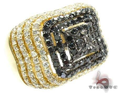 Castle Moat Diamond with Yellow Gold Ring Anniversary/Fashion