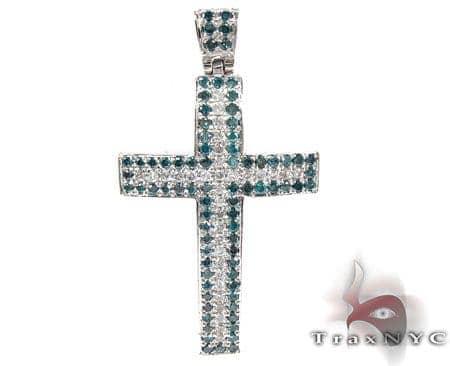Blue and White Diamond Cross Diamond
