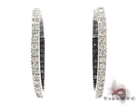 Oval Duplex Black and White Diamond Hoop Earrings Metal
