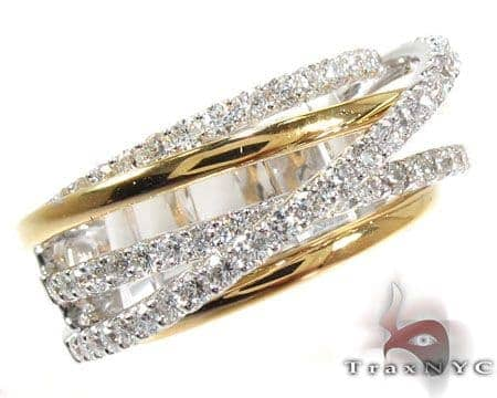 18K Two-Tone Gold Twist Diamond Ring Anniversary/Fashion