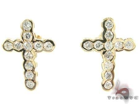 Ladies Yellow Gold Diamond Cross Earrings Stone