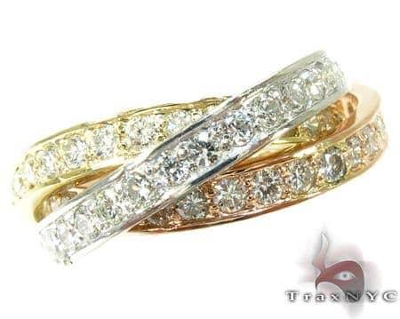 14K Tri-Tone Gold Overlay Diamond Ring Anniversary/Fashion