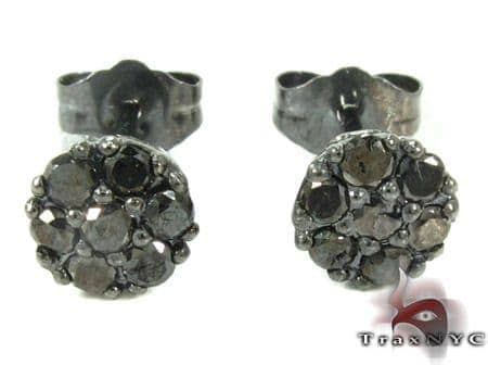 Cluster Black Diamond Stud Earrings Stone