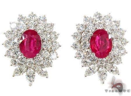 Pigeon Blood Ruby Diamond Earrings Stone
