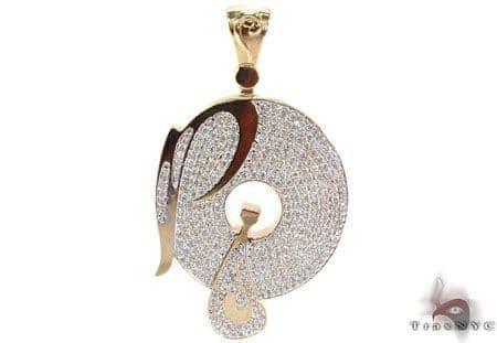 Mens Diamond Custom P Pendant Metal