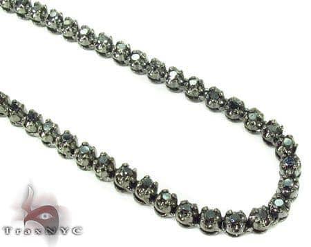 Black Diamond Chain 30 Inches 3.5mm 48.7 Grams Diamond