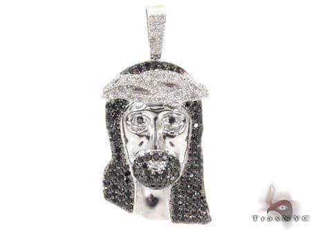 Black and White Diamond Jesus Pendant Style