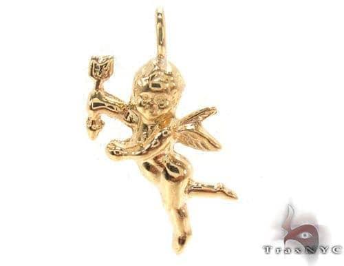 18K Yellow Gold Angel Pendant 34382 Metal