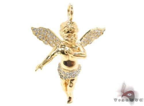 18K Gold Prong Diamond Angel Pendant 34693 Stone