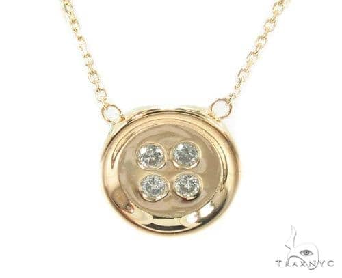 Bezel Diamond Button Necklace 34946 Diamond
