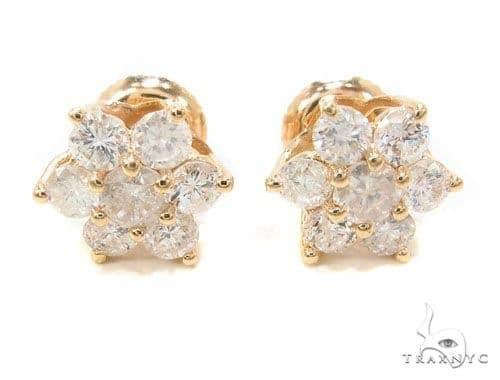 Yellow Gold Medium Flower Earrings Stone