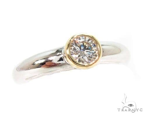 Mens 18K Yellow Gold Bezel Diamond Platinum Wedding Ring Style