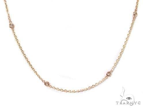 Rose Gold Yard Bezel Diamond Necklace Diamond