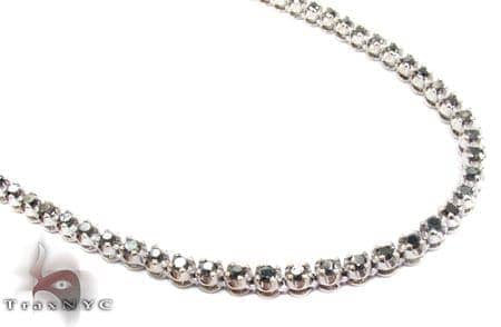 White Gold Round Cut Prong Black Diamond Chain 28 Inches, 4mm, 45.3 Grams Diamond