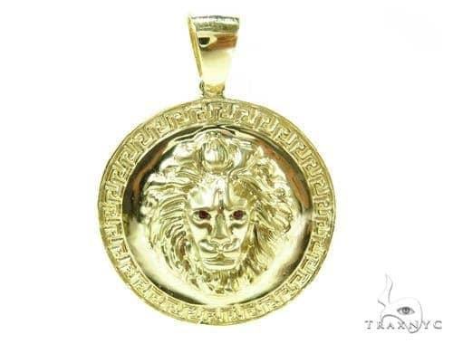 14K Yellow Gold Lion Pendant Metal