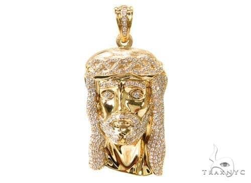 Prong Diamond Jesus Pendant 37119 Metal