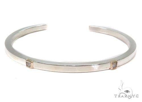 Bezel Diamond Bangle Bracelet 37321 Silver