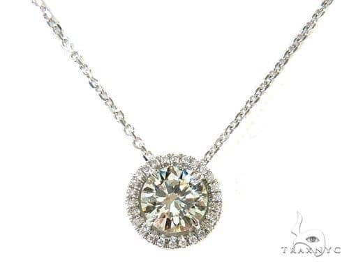 14k White Gold Pave Diamond Necklace-39991 Diamond