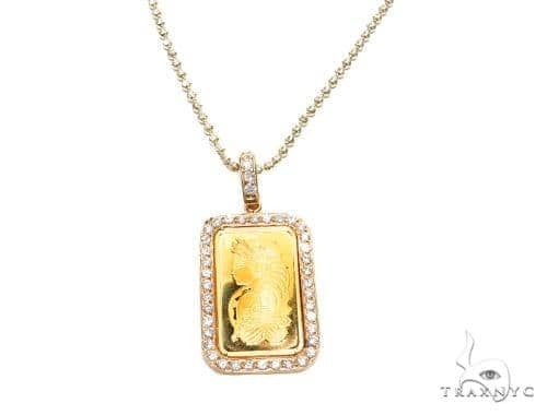 Prong Diamond 24k Gold Pendant Bar Moon Cut Chain 42206 Metal