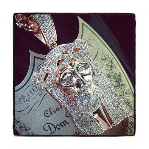 Custom Prong Diamond Rose Gold Jesus Pendant Style