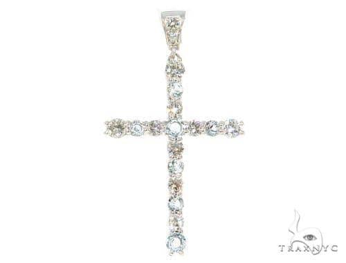 Prong Diamond Aquamarine Cross 44532 Diamond