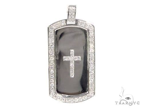 Prong Diamond Cross Dog Tag 44894 Metal