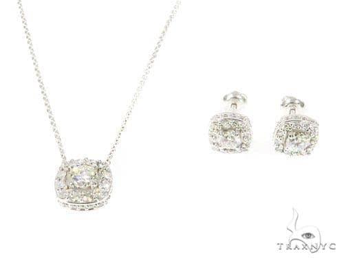 Prong Diamond Necklace and Earrings Set 45107 Diamond