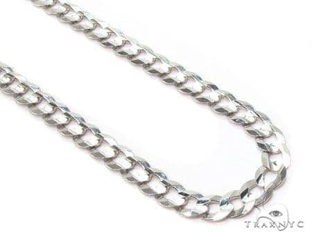 Mens 14k Solid White Gold Cuban/curb Chain 20 Inches 3mm 5.36 Grams 47190 Gold