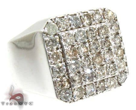 TraxNYC Heavy Silver Diamond Ring Metal