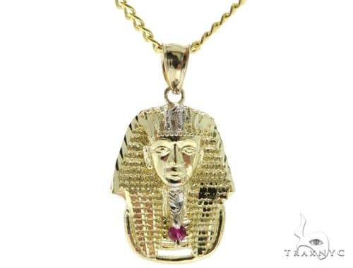 10K YG Small Pharaoh Pendant Cuban Chain Set 56886 Metal