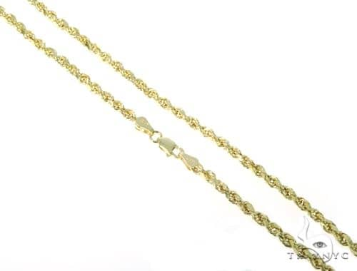 10KY Hollow Rope Chain 26 Inches 3mm 5.20 Grams 57618 Gold
