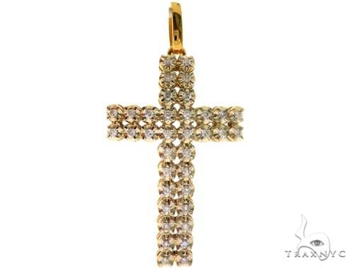 14K Yellow Gold Prong Diamond Cross Pendant 57671 Diamond
