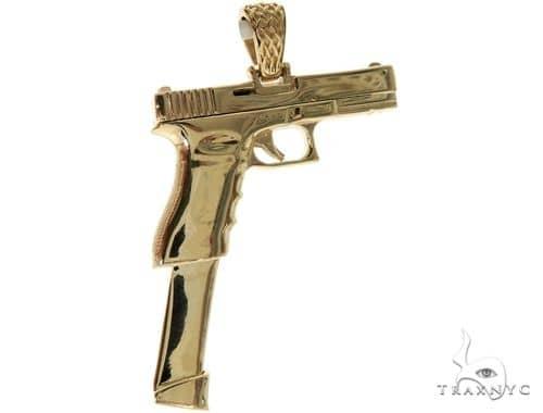 14K Yellow Gold Gun Pendant 58426 Metal