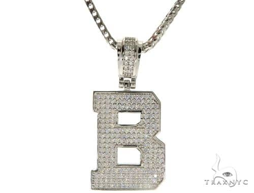 CZ Silver Initial(B) Pendant 24 Inches Franco Chain Set 58470 Metal