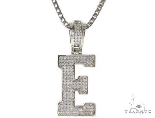 CZ Silver Initial(E) Pendant 24 Inches Franco Chain Set 58473 Metal