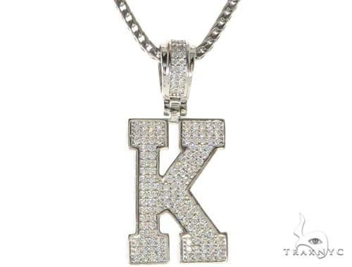CZ Silver Initial(K) Pendant 24 Inches Franco Chain Set 58479 Metal