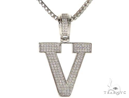 CZ Silver Initial(V) Pendant 24 Inches Franco Chain Set 58490 Metal
