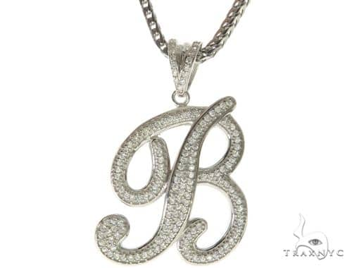 CZ Silver Initial(B) Pendant 30 Inches Franco Chain Set 58498 Metal