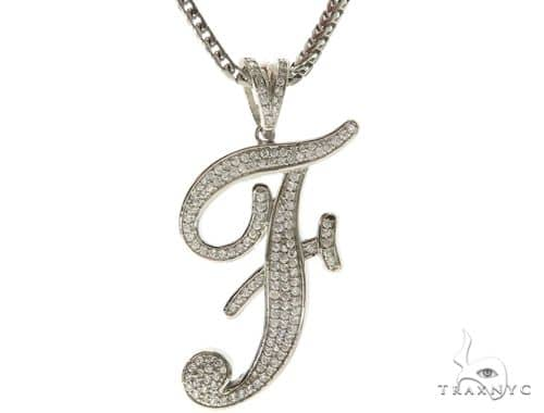 CZ Silver Initial(F) Pendant 30 Inches Franco Chain Set 58502 Metal