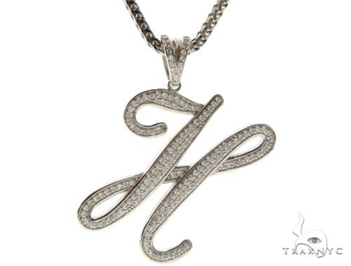 CZ Silver Initial(H) Pendant 30 Inches Franco Chain Set 58504 Metal