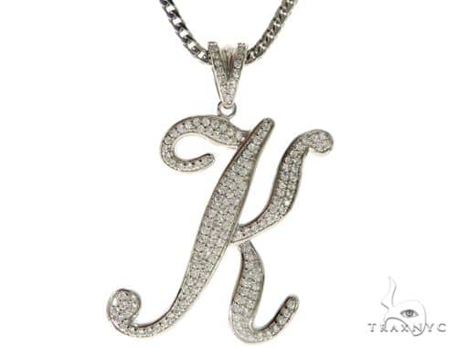 CZ Silver Initial(K) Pendant 30 Inches Franco Chain Set 58507 Metal